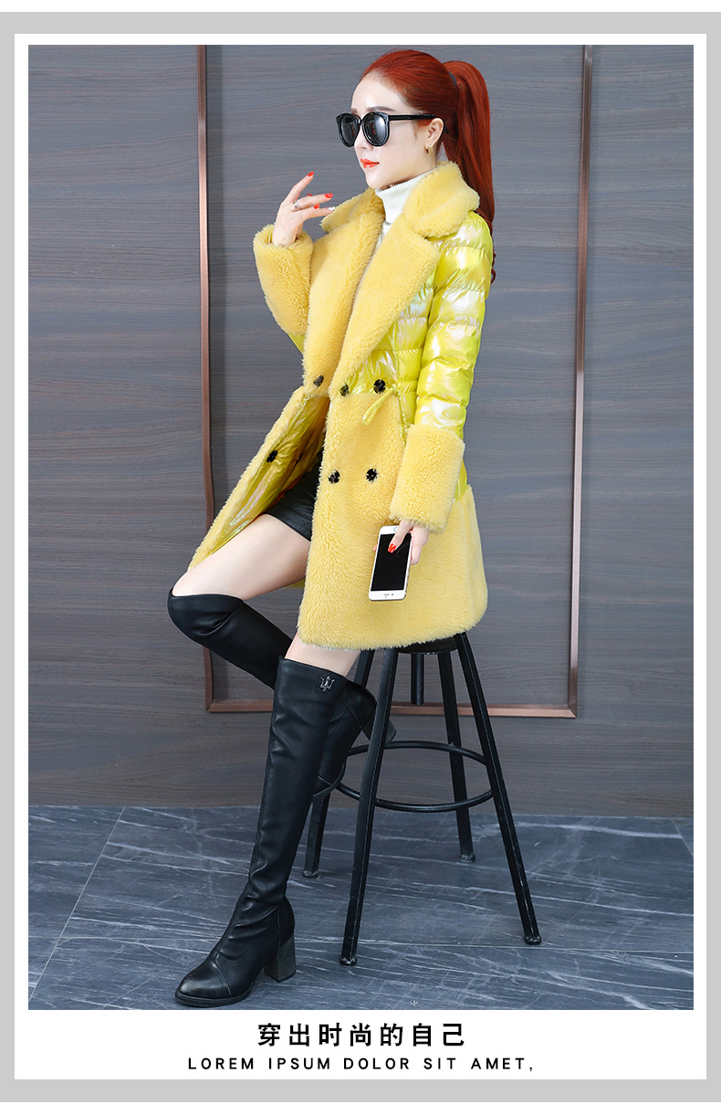 Colorful bright leather down cotton clothing tide 2020 new women's thick bright-faced cotton clothing in the long winter lamb wool cotton wool 60 Online shopping Bangladesh