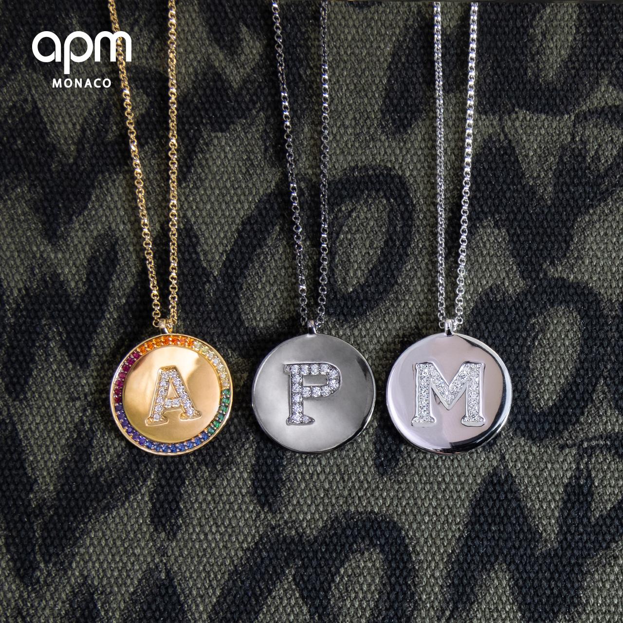 APM Monaco彩虹金色刻字图案定制字母项链女情侣锁骨链送女友礼物