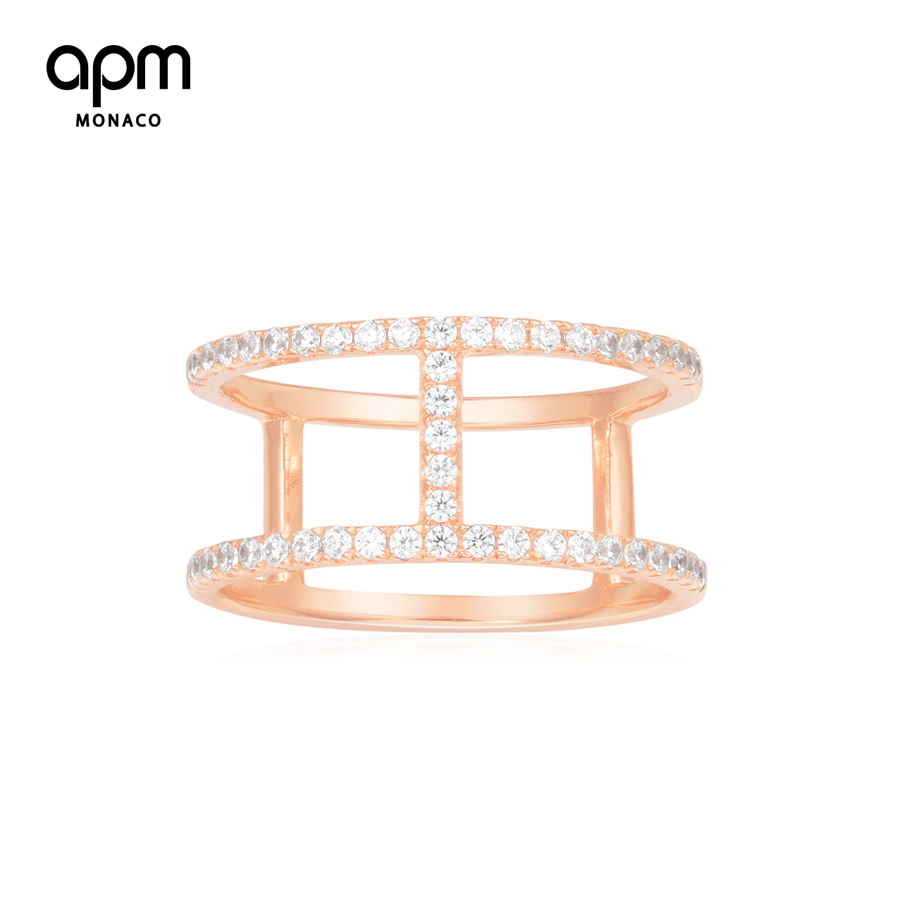 APM Monaco玫瑰粉金色戒指 情侣时尚个性指环尾戒女双圈食指戒
