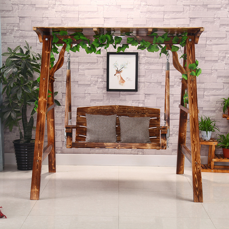 Solid Wood Rocking Chair Carbonized Outdoor Wood Swing Adult Children  Double Indoor Balcony Chair Garden Cradle Chair