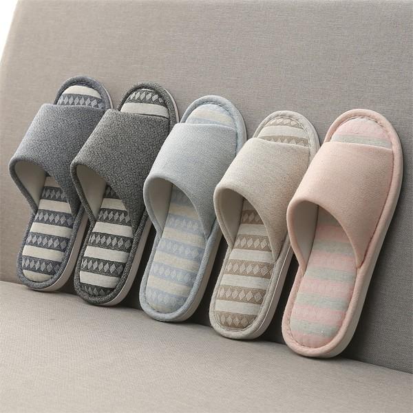 春秋款居家室内棉麻拖鞋女夏休保暖式木地板防滑软厚底月子鞋包邮