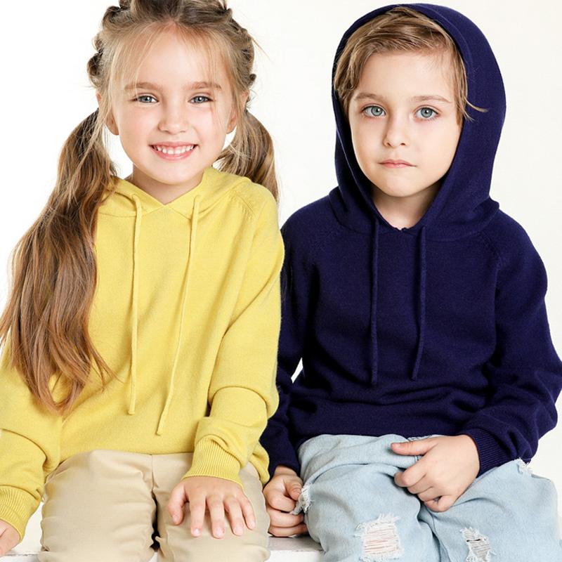 秋冬童装套头毛衣针织衫女童长袖连帽打底衫韩版卫衣外套帽衫男童