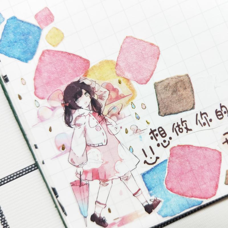 三渡原创特殊油墨白墨烫金和纸胶带整卷人物甜美女孩diy手帐贴纸