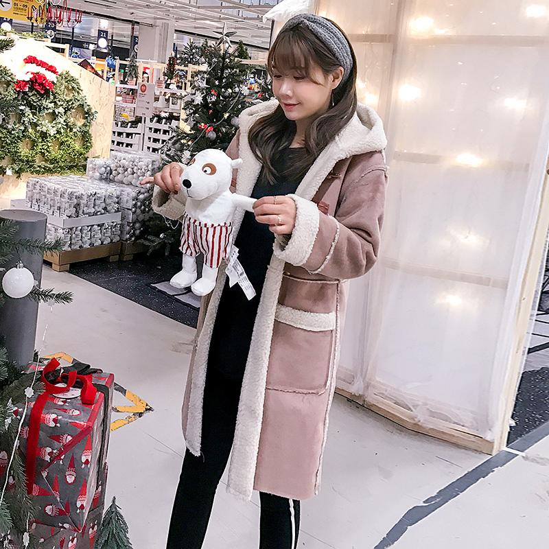 2018冬季新款韩版羊羔毛棉服女中长款鹿皮绒加厚皮毛一体学生外套