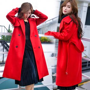 2018冬韩版新款流行毛呢大衣女中长款赫本小个子加厚呢子学生外套