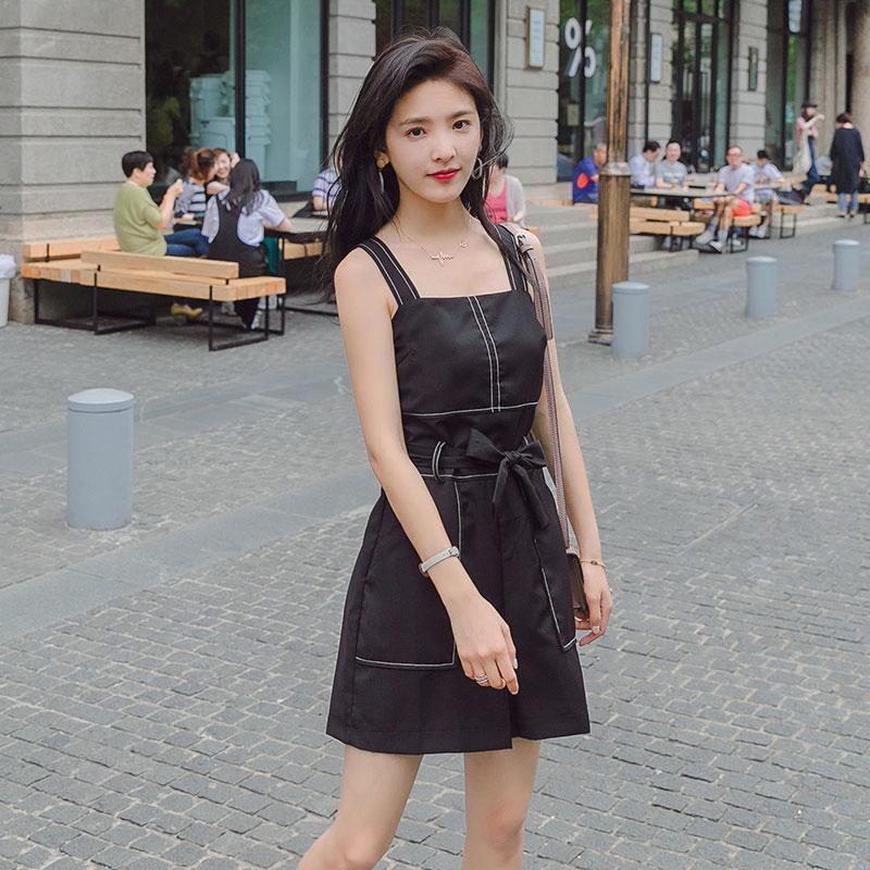 背带连体裤女2019夏装新款高腰修身显瘦矮个子穿搭大口袋连衣短裤