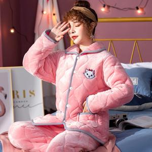 冬季睡衣女加厚款加绒珊瑚绒保暖三层夹棉秋冬天女装法兰绒家居服