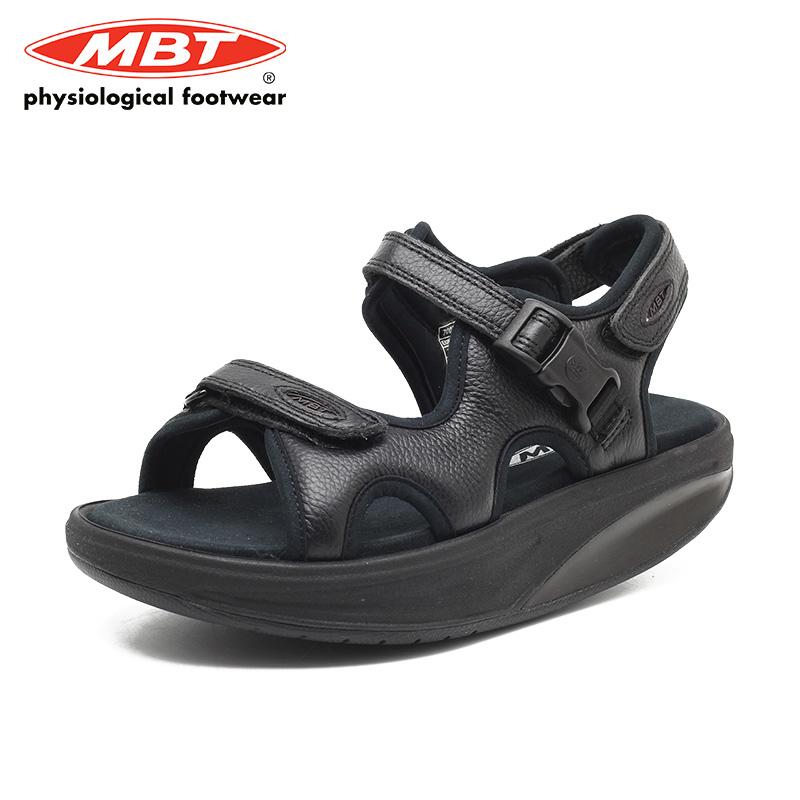 MBT 時尚搖搖鞋 黑色厚底涼鞋 露趾涼鞋 魔術貼 顯高 鏤空鞋子