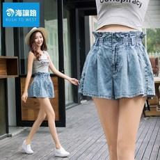 夏薄雪花牛仔短裤荷叶边宽松a字阔腿裤