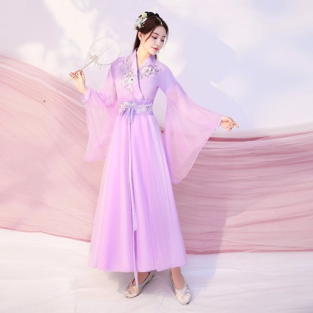 Ancient Costume Female Han Costume Autumn Fairy Chinese Style Elegant Waist-High Ruqun Ancient Style Daily Wearable Guzheng