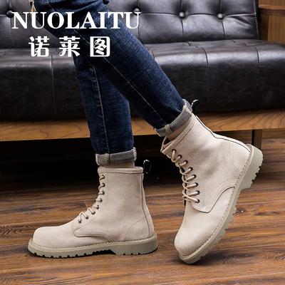 诺莱图男鞋夏季英伦中帮马丁靴男工装韩版潮流军靴男沙漠男士靴子