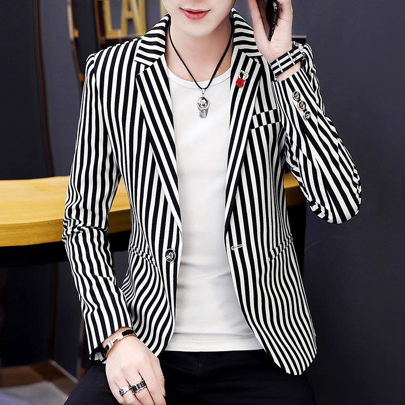 发型师春季潮流男装韩版外套上衣小西服男西装帅气v潮流单夜场条纹