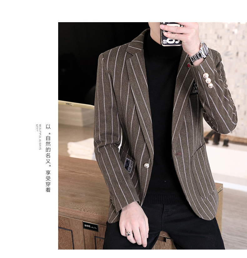 Trendy suit men's plush jacket Korean version handsome autumn and winter hair and striped small suit thickened top 57 Online shopping Bangladesh