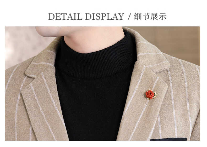 Trendy suit men's plush jacket Korean version handsome autumn and winter hair and striped small suit thickened top 62 Online shopping Bangladesh