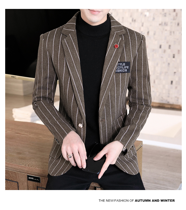 Trendy suit men's plush jacket Korean version handsome autumn and winter hair and striped small suit thickened top 56 Online shopping Bangladesh