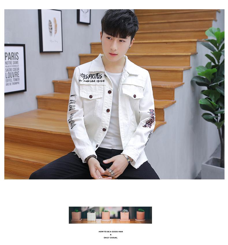Hộp đêm của nam giới cá tính denim jacket xu hướng mùa xuân Hàn Quốc cotton mỏng denim quần áo nam đẹp trai áo khoác màu đen