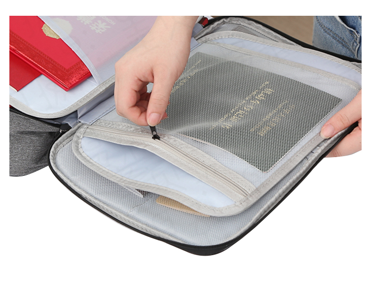 家庭证件文件收纳包多层大容量护照卡包家用多功能檔案可携式证件包详细照片