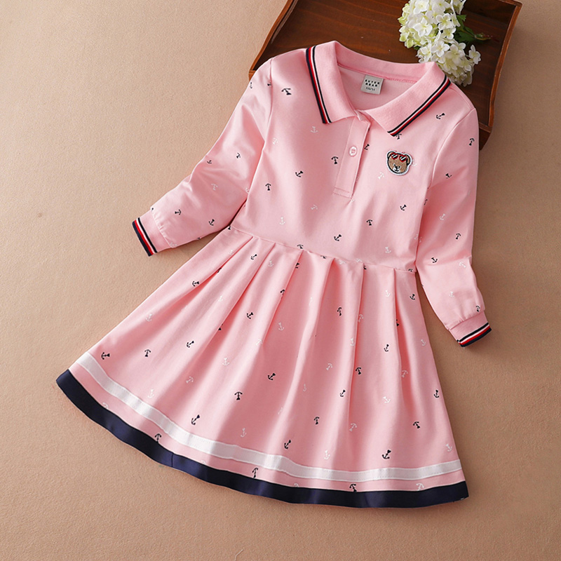 Girls dress 2020 new spring and autumn little girl in the atmosphere of the big children's navy British Academy wind princess dress