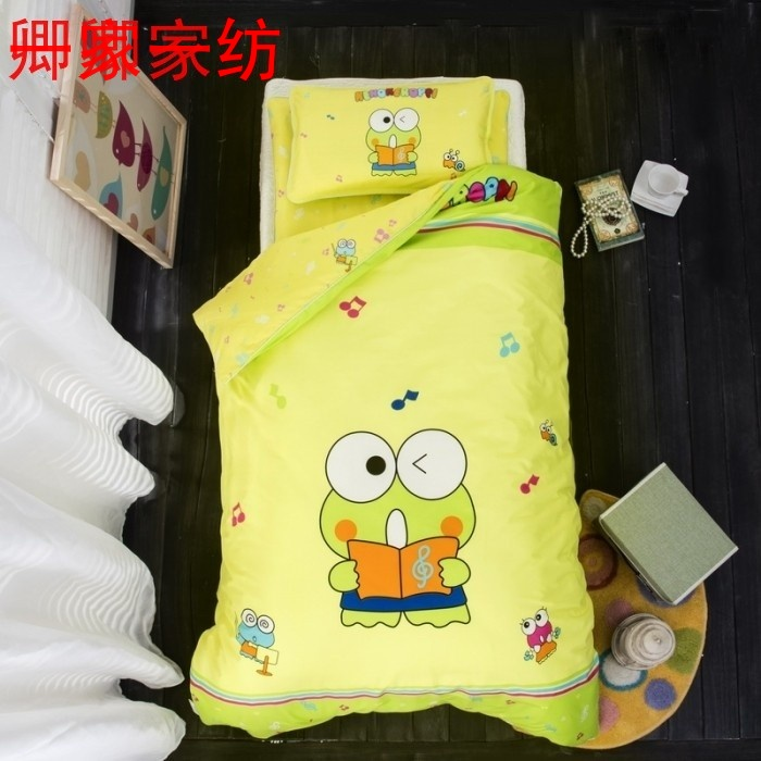 Kindergarten quilt three or six sets of pure cotton core small frog quilt spring and autumn children's cartoon bedding nap