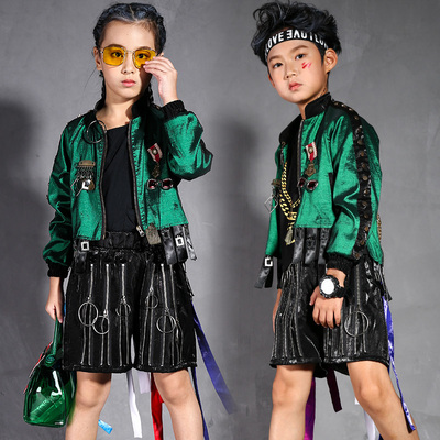 Girls Hip-hop Dresses, Girls Trendy Boys, Drum-and-Stand Performing Drums, Children Walking Show Models, Fashion and Personality Trendy Boys