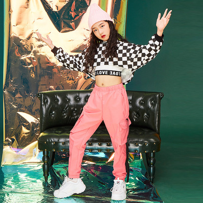 Hip-hop Jazz Trendy Girl in Children Hip-hop Dresses with Long Sleeves, Black and White Chequered High-collar Costume