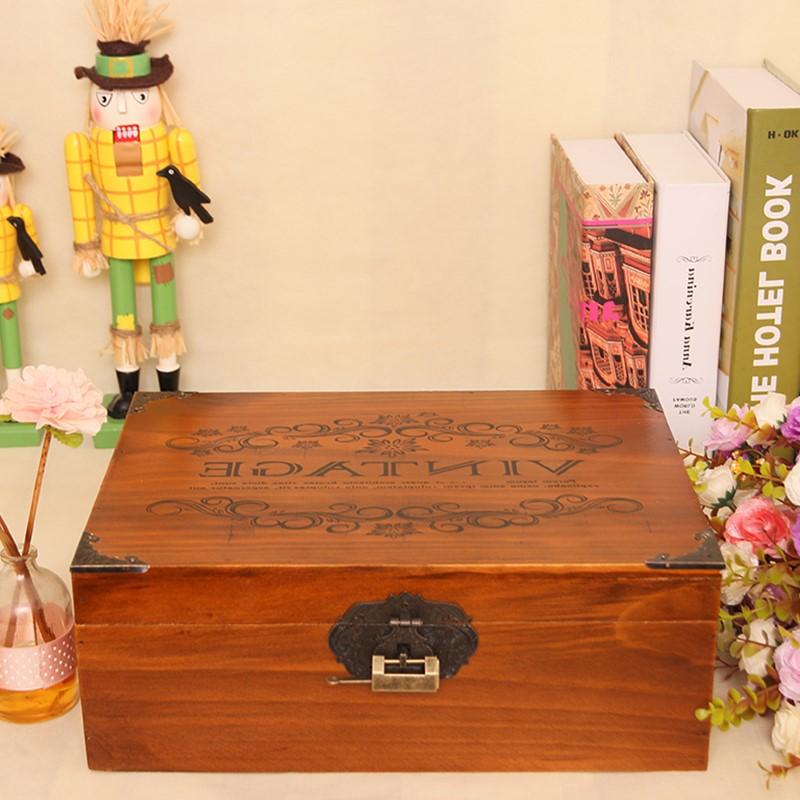 复古长方形特大号木头带锁储物箱盒子箱子实木小号木质小型v木头盒