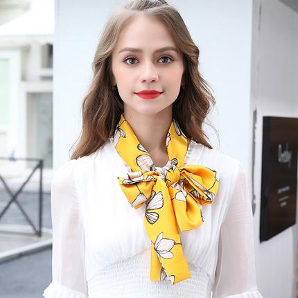 杭州四季黃色的小絲巾女長條扎頭發長款漂亮大氣薄款發帶網紅爆款