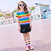 Mama 绨 children's clothing 2018 new summer girls short-sleeved t-shirt round neck Korean version of the big boy hit color striped shirt