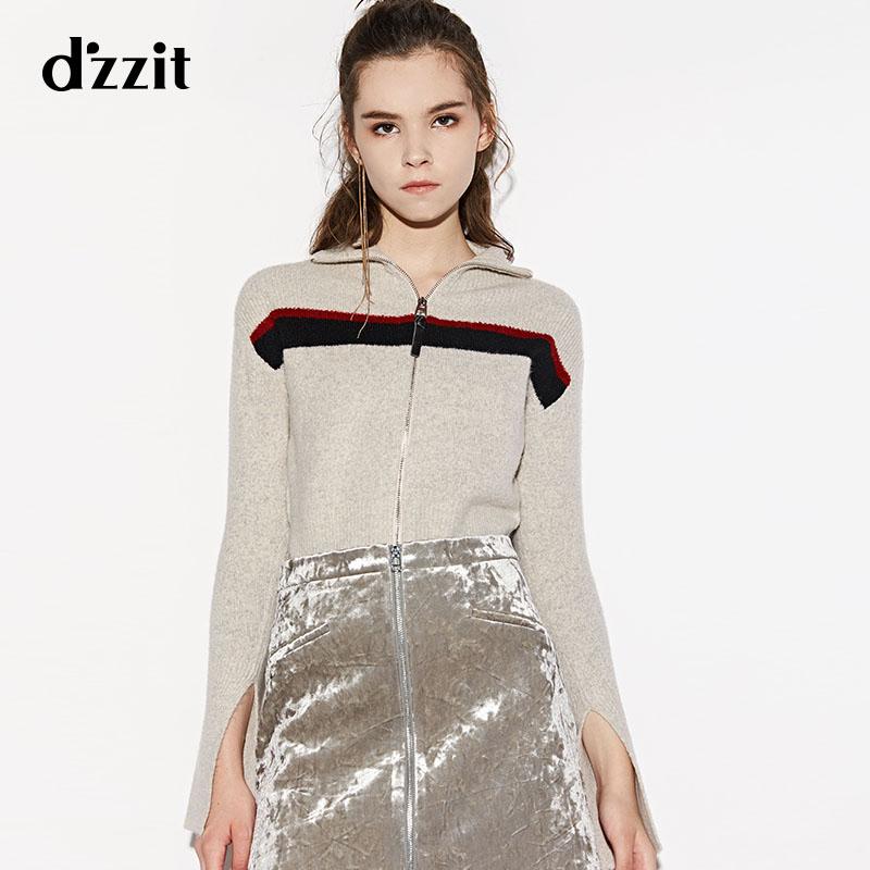 dzzit地素 新款 时髦拼色高领拉链开衫毛衣  3A4E4052J