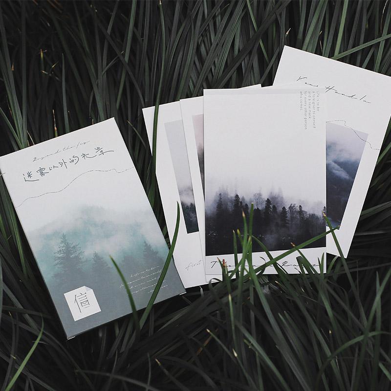 唯美森系文艺风盒装明信片 迷雾以外的光景 自然风景森林装饰卡片节日礼物祝福留言卡片