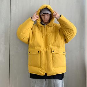 日系復古連帽棉衣男秋冬保暖加厚休閑棉服外套工裝棉襖面包服