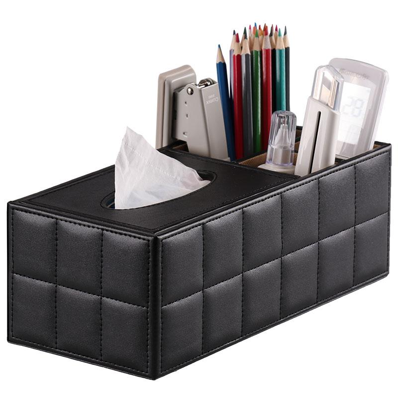 商务办公桌面创意纸盒皮质遥控器v桌面盒纸巾多功能时尚盒抽笔筒