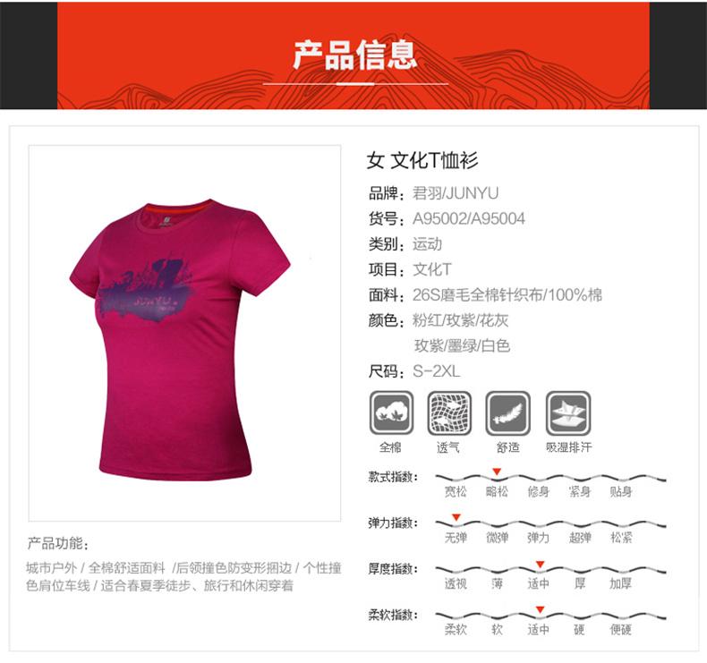 君羽 超柔长绒棉面料 女针织印花T恤 图1