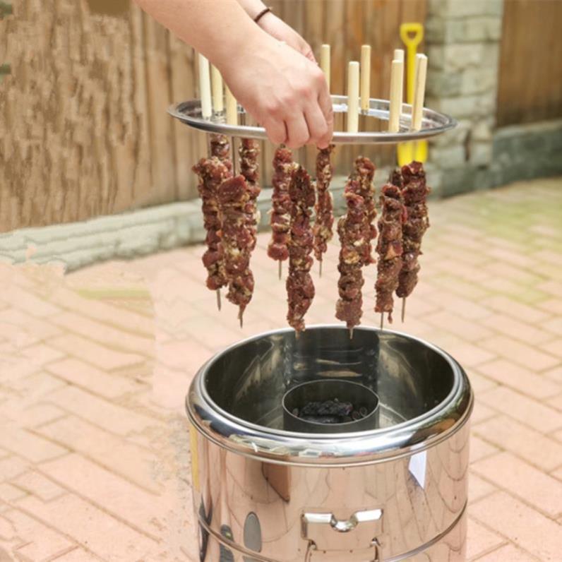 烧烤炉商用炭烤。铁板烧铁桶大型无油烟新款小型烤肉串不锈钢户外