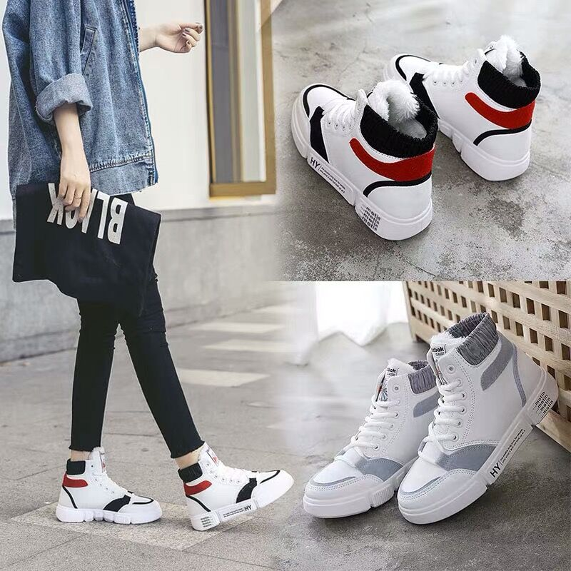 High-gang shoes plus velvet women 2018 winter new Korean version of the hundred-set ulzzang students flat-bottomed casual shoes running shoes