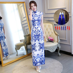 Blue and white porcelain cheongsam Chinese style performance clothes long catwalk autumn and winter improved retro thick etiquette plus size dress