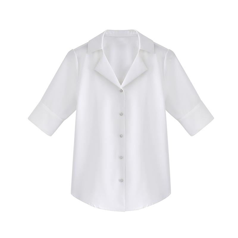 白色雪纺短袖衬衫女夏设计感小众娃娃衫v领上衣韩版衬衣宽松百搭_领取20元淘宝优惠券
