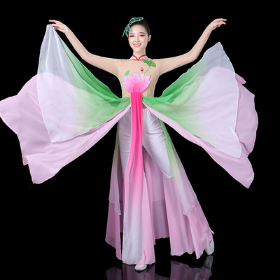 Chinese folk dance costumes for women Classical dance performance dress elegant Chinese style fresh and elegant clothing lotus dance fan dance suit for adults