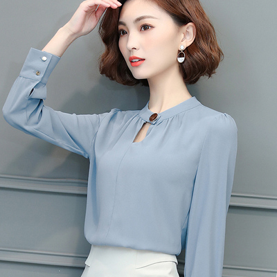 Solid color long-sleeved chiffon shirt 2017 spring and autumn new Korean small shirt shirt women's large wild base shirt