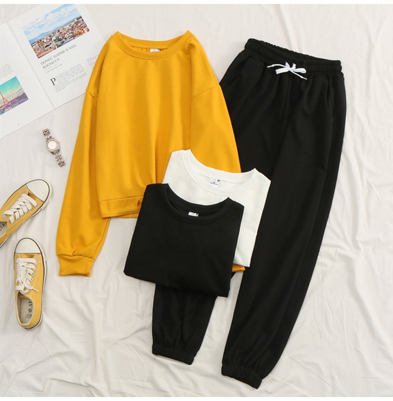 Net-a-Go sports suit women's autumn 2020 new Korean version of loose fashion style air-reducing thin casual two-piece set 35 Online shopping Bangladesh