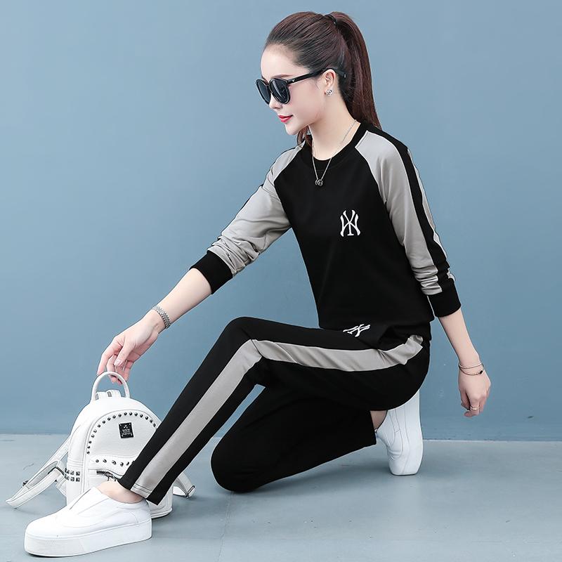 运动休闲套装女装春秋季2020新款宽松时尚大码立领跑步服两件套潮