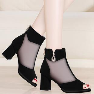 中跟鱼嘴凉鞋女夏季新款粗跟网纱凉靴