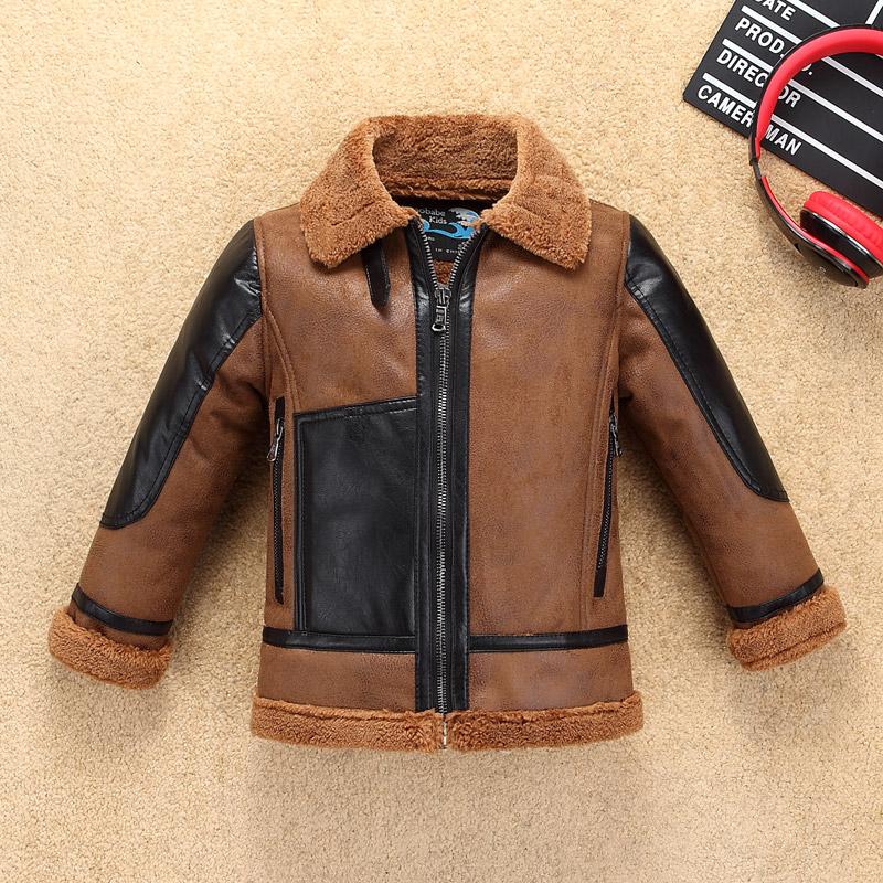 一体男童夹克2018新款韩版中大童PU加绒加厚皮毛冬装男孩皮衣外套