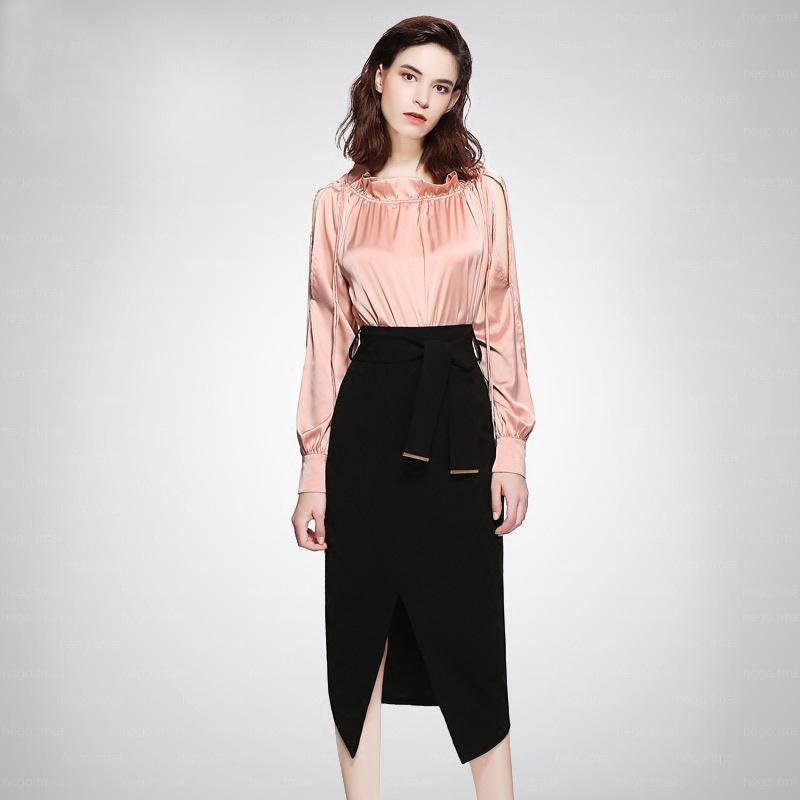 长袖衬衣高腰修身短裙两件套