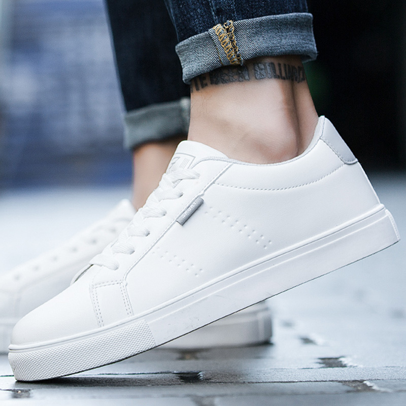 Мужской башмак осень небольшой белый башмак мужской корейская версия модные для отдыха башмак белый панель башмак мужской Дикие ботинки воздухопроницаемый Студенческая обувь