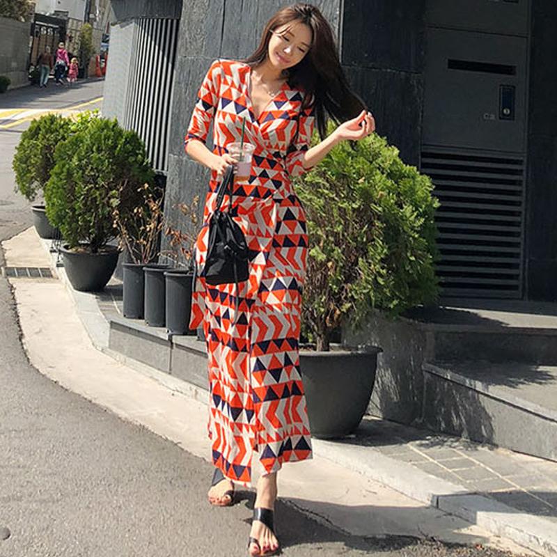 2018韩版春夏长裙新款V领开叉女装修身显瘦裹身裙气质碎花连衣裙
