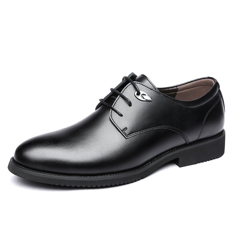 春季圆头黑色真皮商务休闲皮鞋男士正装英伦透气低帮大码系带鞋子