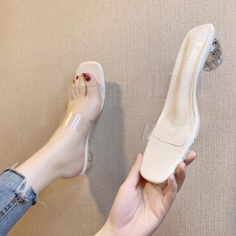 港风透明水晶拖鞋女ins2020新款夏季外穿百搭粗跟一字凉拖中高跟
