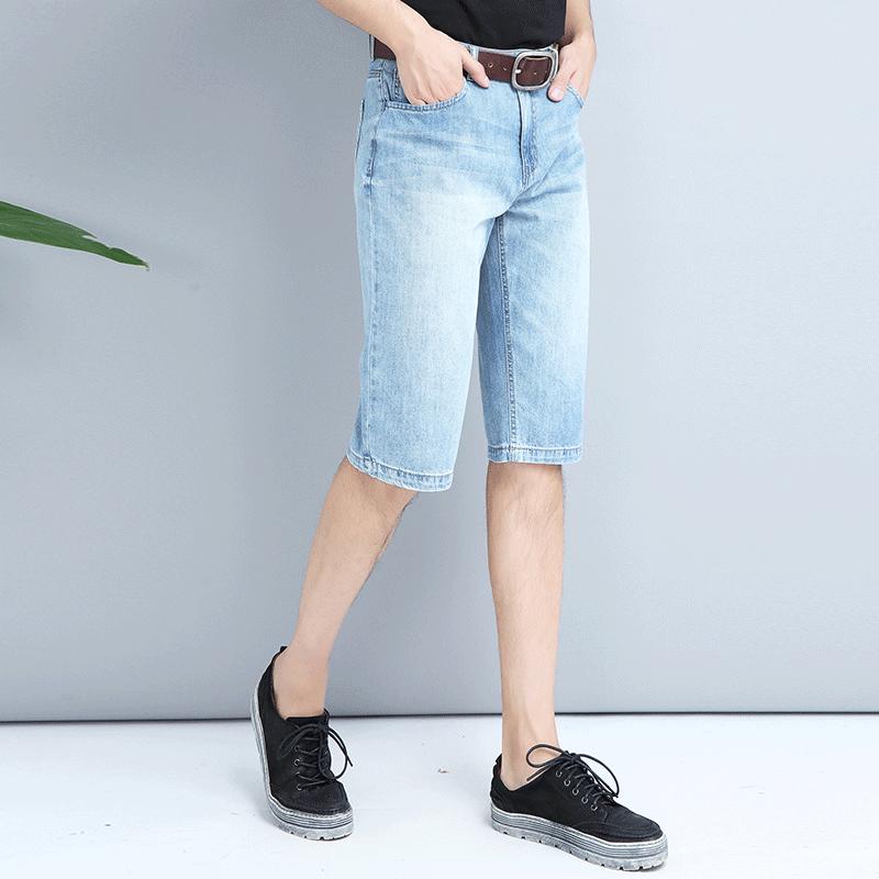 亲肤透气ERQ宽松直筒五分牛仔短裤耐磨耐穿不变形