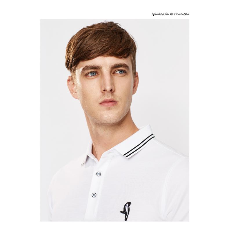 Navigare Navikell nam ngắn tay áo polo áo sơ mi đơn giản sọc đường viền cổ áo ve áo thanh niên thời trang giản dị áo phông kẻ ngang nam